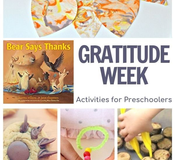 gratitude week activities for preschoolers featuring Bear Says Thanks