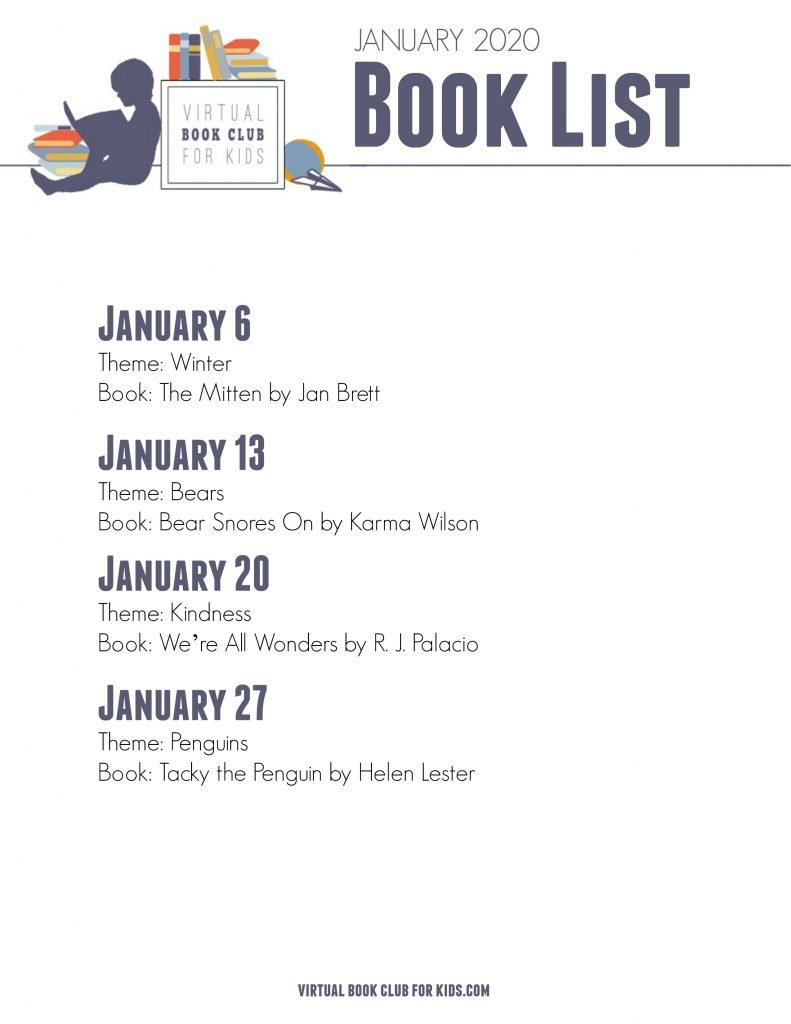 January book and theme list from the Virtual Book Club for Kids
