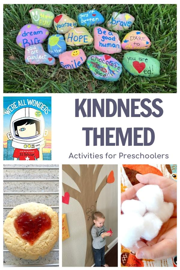 Kindness themed activities for preschoolers featuring the book We're All Wonders by R.J. Palacio