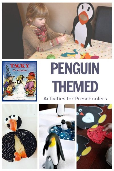 Penguin themed activities for preschool featuring tacky the penguin