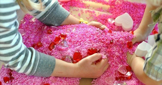 Gems and Hearts Valentine's Sensory Bin