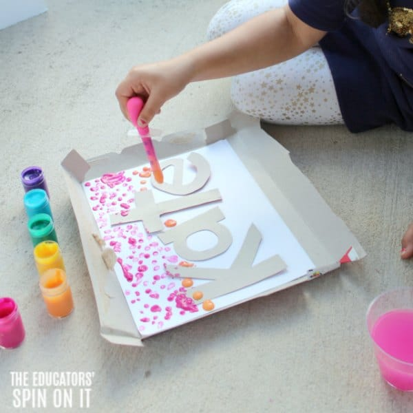 Drip Painting Rainbow Name Activity for Preschoolers