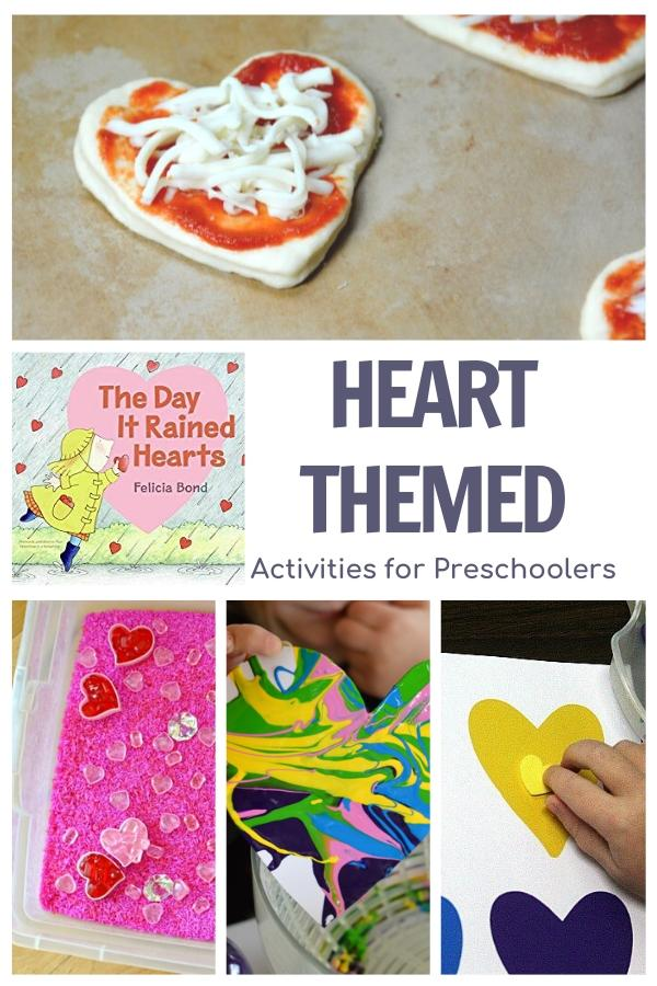 Heart Themed Week Plan for Preschool featuring The Day it Rained Hearts