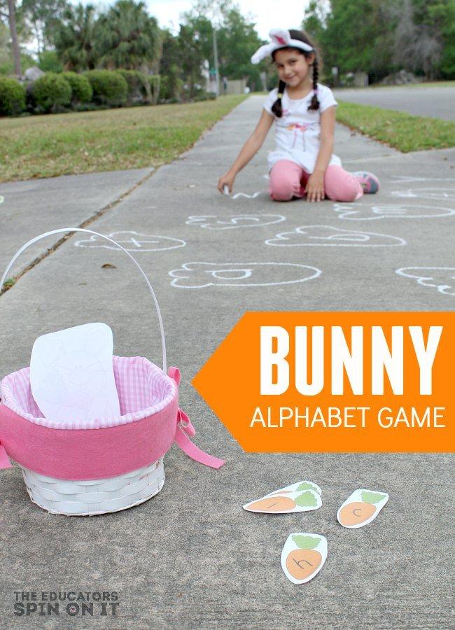 Sidewalk Chalk Bunny Alphabet Game with Printable