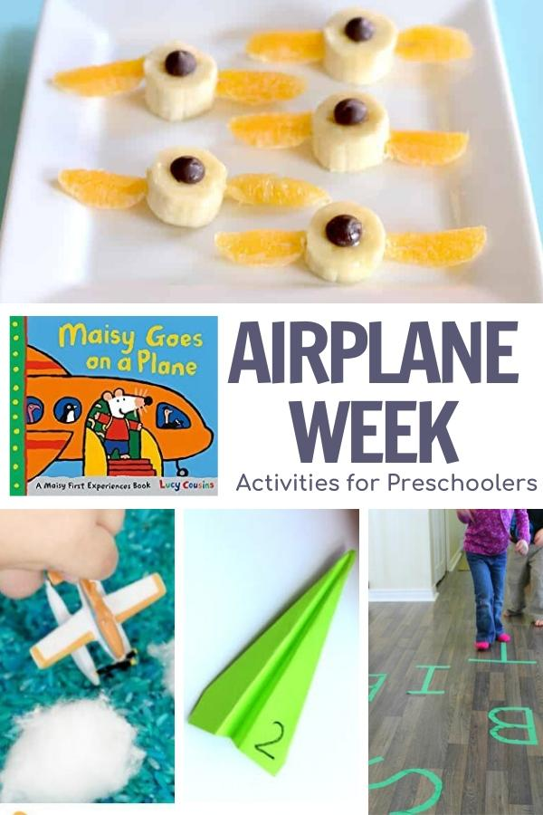 Airplane week activity plan for preschoolers featuring Maisy Goes on a Plan