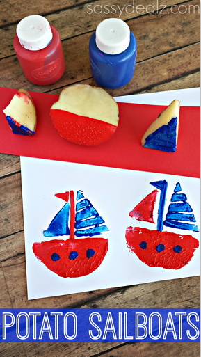 Sailboat Potato Stamping Craft for Kids