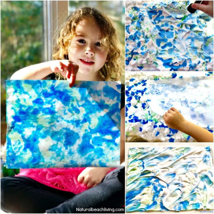 Earth Day Art Activities - Shaving Cream Marbled Paper