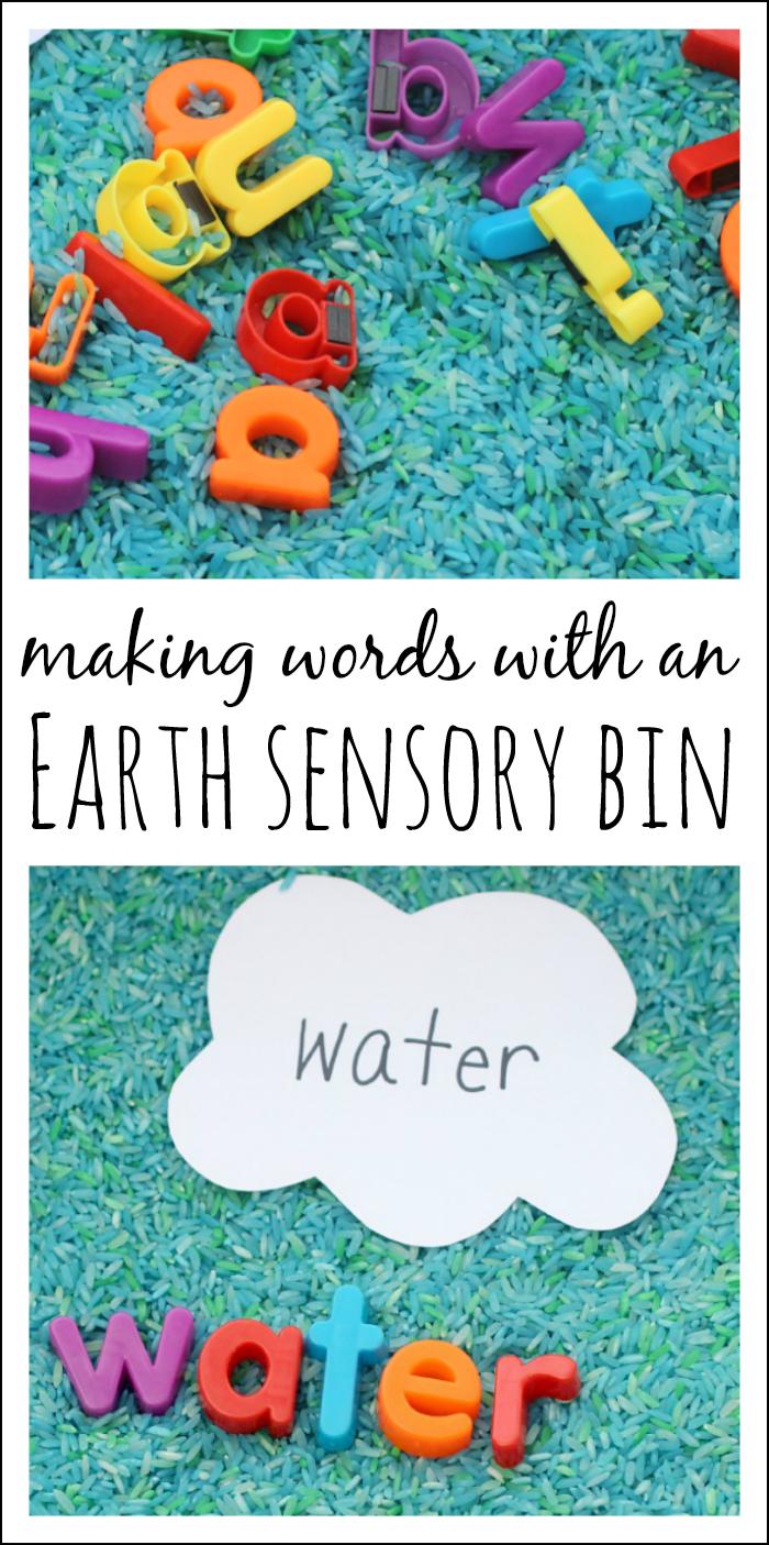 Simple Preschool Earth Day Sensory Bin and Literacy Play