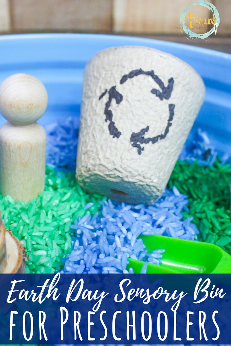 Colored Rice Earth Day Sensory Bin