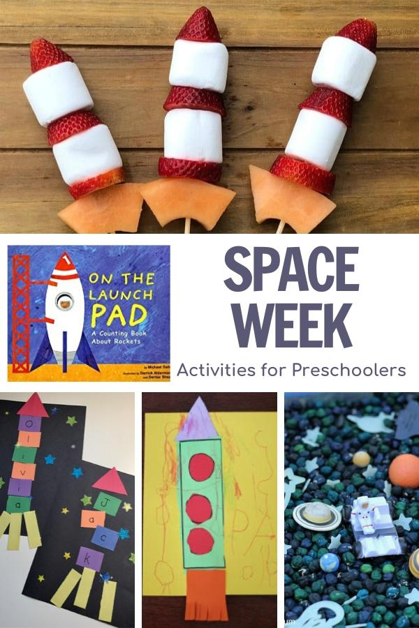 space week activity plan for preschoolers collage of the different activities