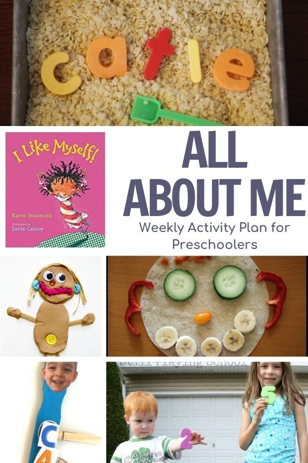 Collage of activities for a week of preschool fun on the theme of All About Me featuring the book I Like Myself also featured in the collage