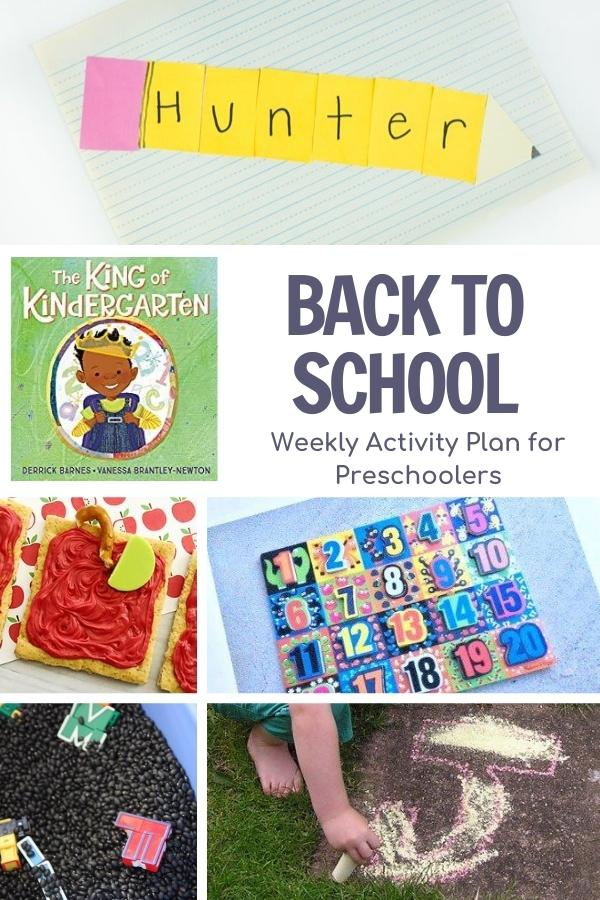 collage of low prep back to school activities and craft for preschoolers