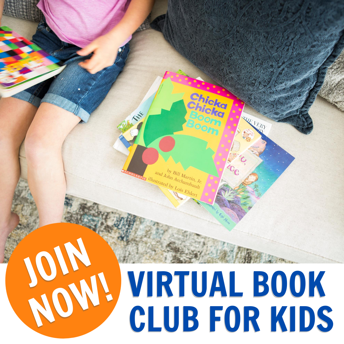 pile of books beside a child sitting down. large orange circle with join now and text to the side reading virtual book club for kids