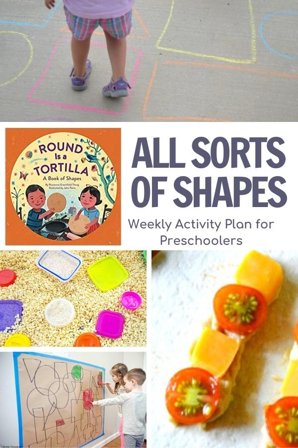 all sorts of shapes weekly plan for preschool from the virtual book club for kids featuring round is a tortilla