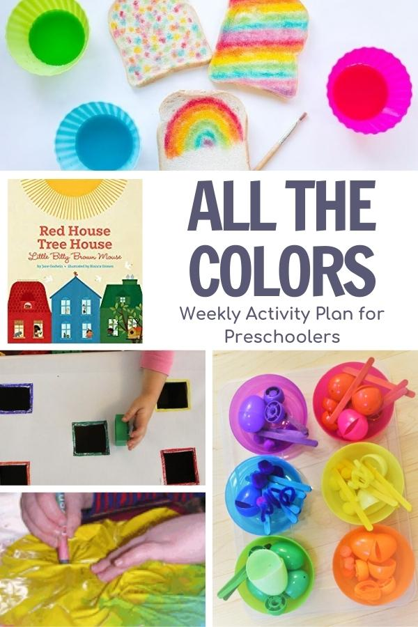 Collage of color activities for preschoolers to go with the book Red House Tree House Little Bitty Brown Mouse