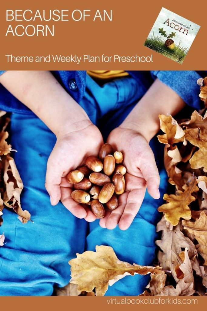 child holding acorns for a pinterest image for acorn themed activities for preschoolers