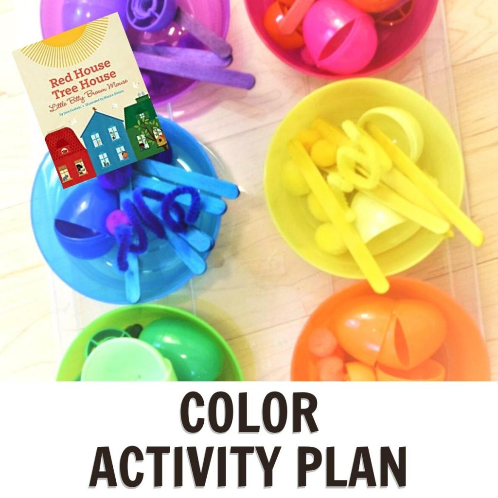 color activity plan for preschool featuring Red House Tree House Little Bitty Brown Mouse