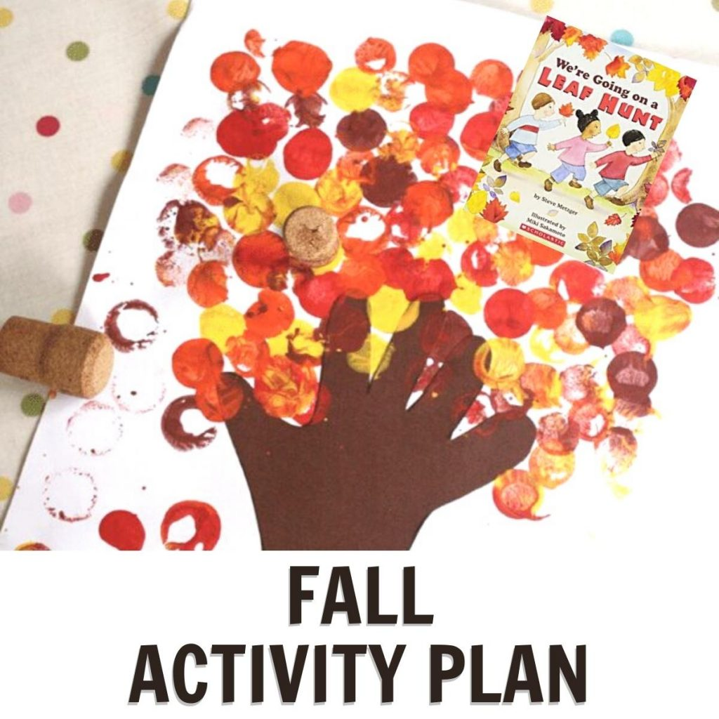 fall tree with we're going on a leaf hunt book cover and text reading fall activity plan