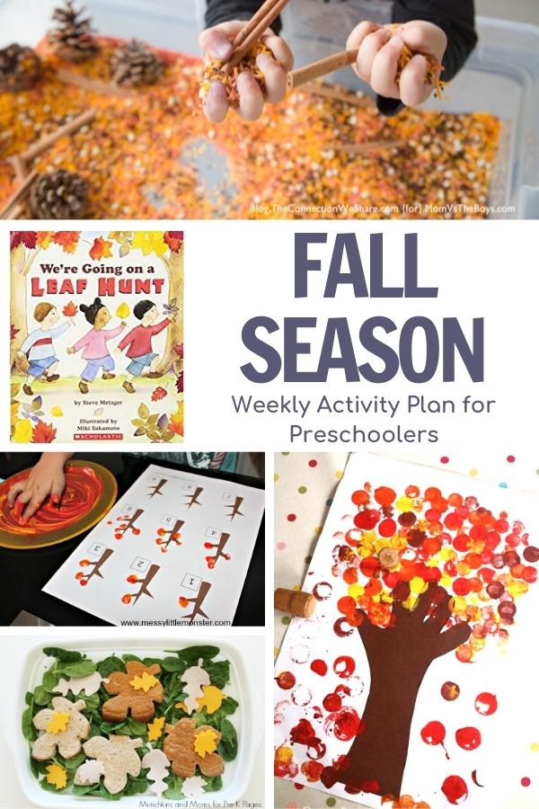 collage of fall activities for preschoolers inspired by the book we're going on a leaf hunt by steve metzger for preschoolers