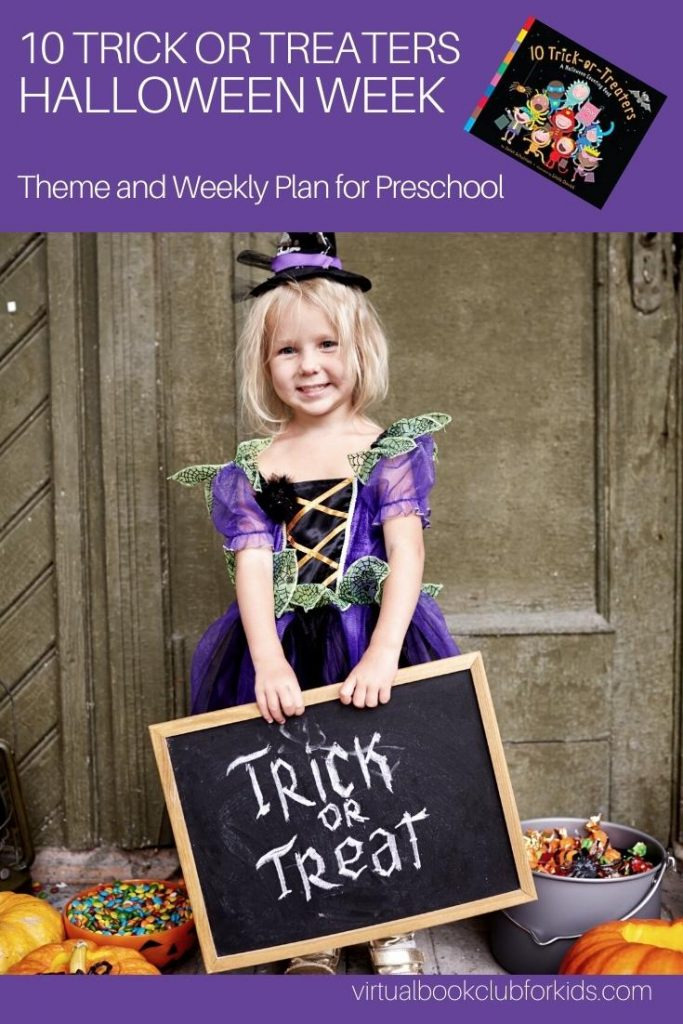 preschooler dressed up for halloween for the pinterest image for the Halloween week featuring 10 Trick or Treaters