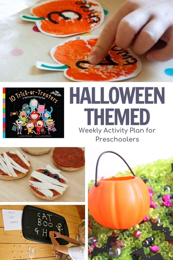 pinterest image for Halloween Week Theme and Activity Plan for Preschoolers showing activities