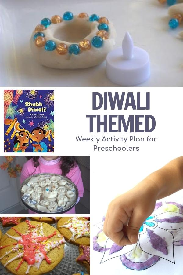 collage of activities for preschoolers to celebrate the 5 days of diwali