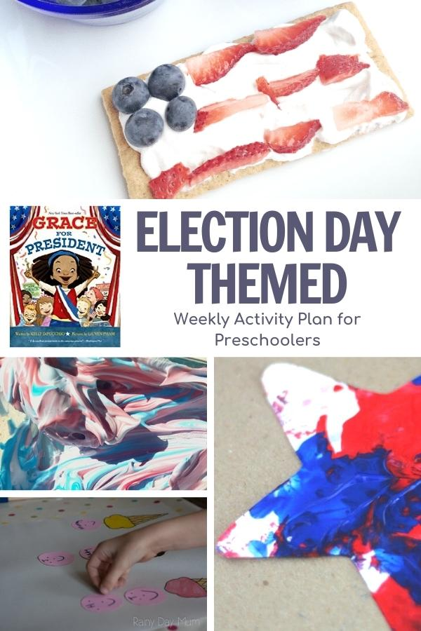 collage of activities for preschoolers and book for election day