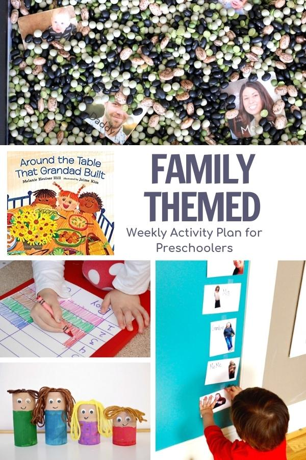 collage of family themed activities for preschoolers with the cover of the featured book Around the table that grandad built for the virtual book club for kids