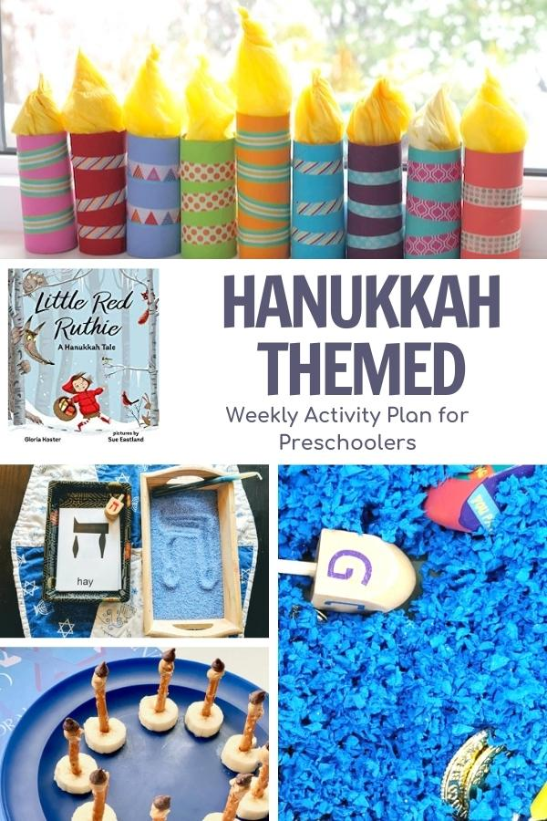 collage of Hanukkah themed activities for preschool to do alongside the book little red ruthie