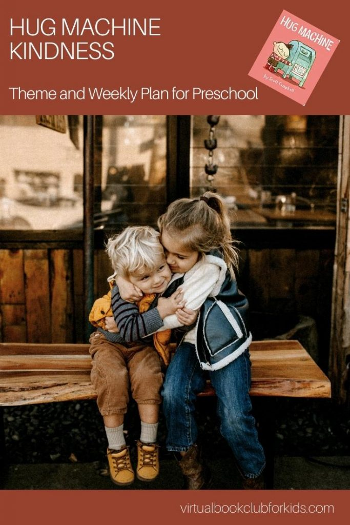 pinterest image for the virtual book club for kids activity plan for the book Hug Machine and kindness week