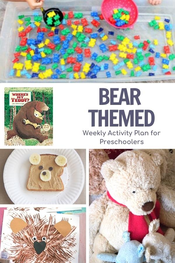 collage of bear themed activities for preschooler to do with the book wheres my teddybear
