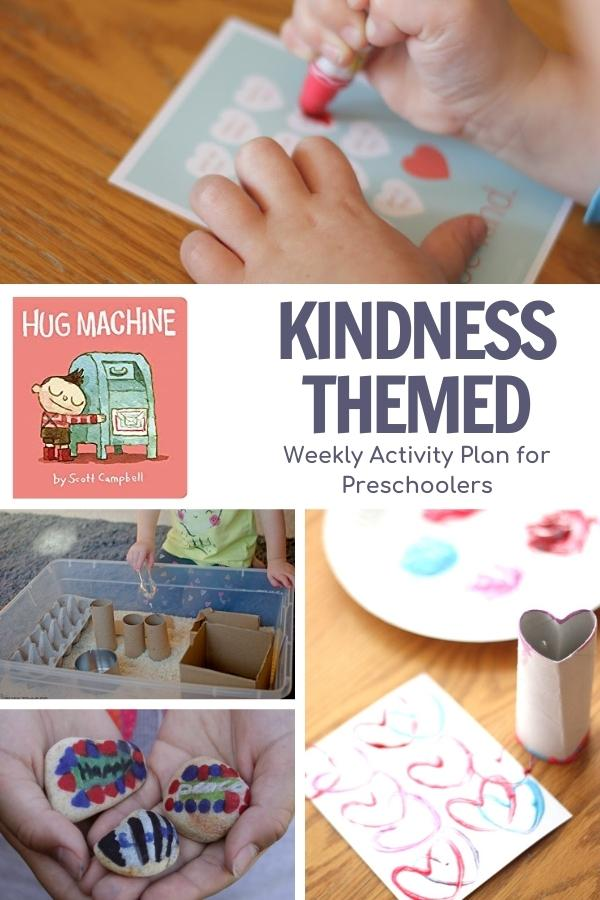 collage of activity images to do for a week of preschool kindness activities with the book Hug Machine by Scott Campbell