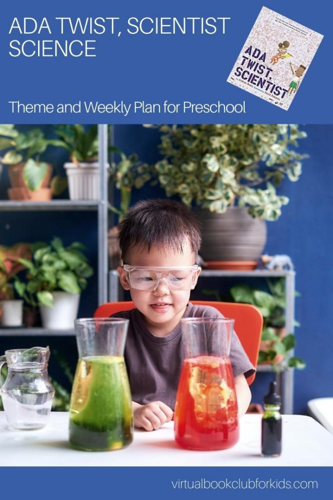 Pinterest image for ada twist, scientist themed activity plan for preschoolers image of a preschooler with safety glasses on looking at conical flasks