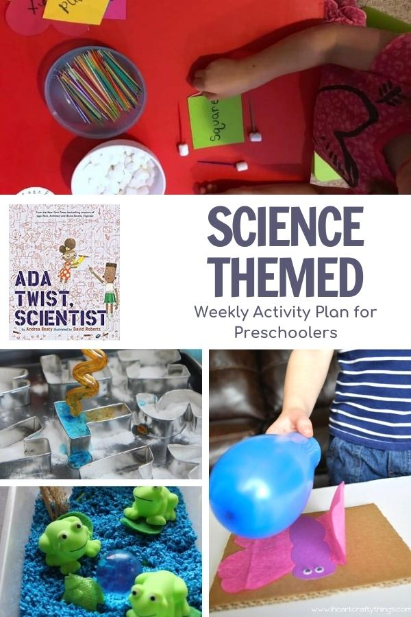 collage of science themed activities for preschoolers, engineering shapes for math, fizzing letters, frog life cycle sensory bin and static electricity craft featuring the book Ada Twist, Scientist