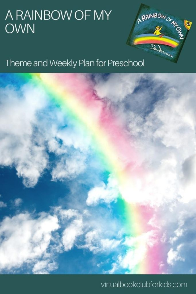Rainbow image for a pinterest pin from the Virtual Book Club for Kids for the A Rainbow of my Own Theme and Activity Week Plan for Preschoolers