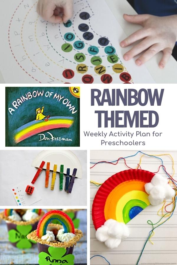pinnable image from the Virtual Book Club for Kids for the Rainbow themed activity plan with simple and easy rainbow activities for preschoolers in a colage, letters, games, snack and crafts as well as the featured book A rainbow of my own by don freeman