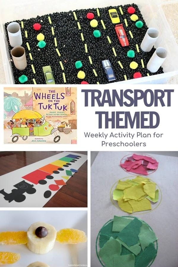 pinterest image of a collage of transport themed activities, sensory bin, shape matching activity, stop light and airplane snack to go with the book Wheels on the Tuk Tuk by Kabir Sehgal and Surishtha Sehgal