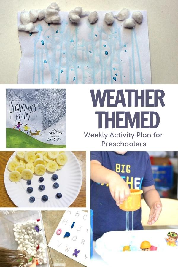 pinterest image for a week of planned activities for preschoolers inspired by the book sometimes it rains by meg fleming clouds, rain and more