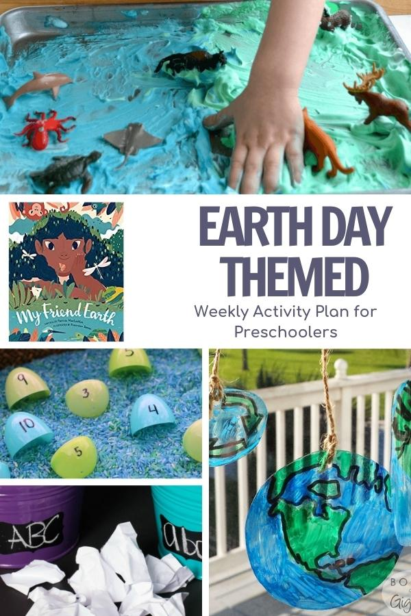 collage of earth week activities for preschoolers, shaving cream sensory bin, math activity, letter recycling and upcycled sun catchers featuring the book My friend earth by  Patricia MacLachlan