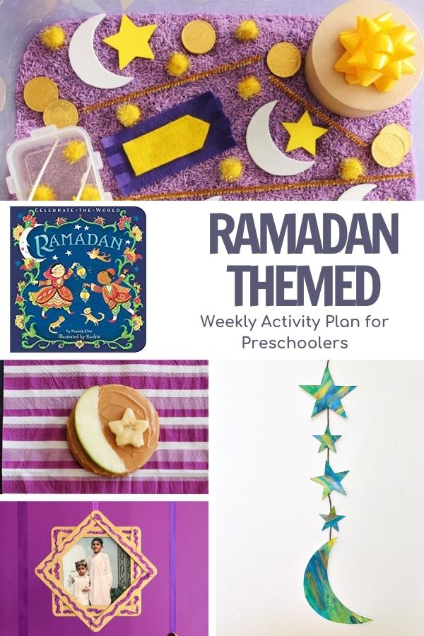 Pinterest image of a collage of ramadan activities for preschoolers and the cover of a book to go alongside these activities. Includes a sensory bin, snack, craft and shape activity for math