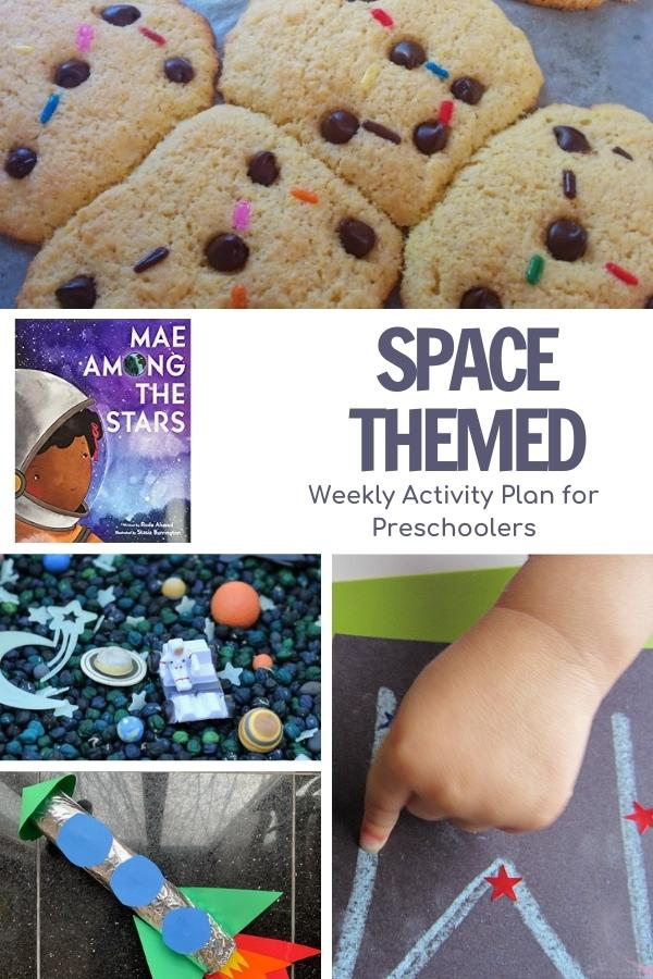 Collage of some of the fun space themed activities for preschoolers to go along with the book Mae Among the Stars as shown on the image images in the collage include cookies with star constellations, a space sensory bin, rocket craft and making constellations with letters on a black background